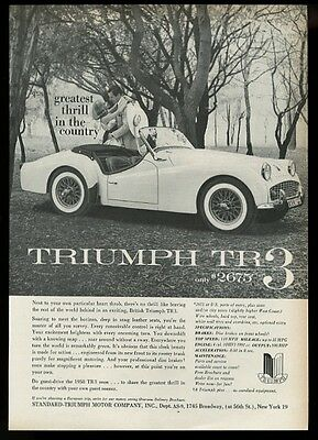 1958 Triumph TR3 TR-3 car photo Greatest Thrill in the Country vintage print ad