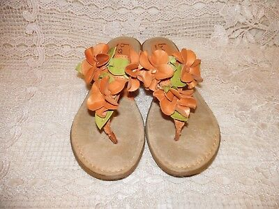 c44eceb13b33b Born Concept BOC Orange Leather Flower Thong Floral Sandals Womens Shoe SIZE  7