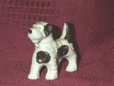 "Vintage Japan Fox Terrier Puppy Dog Figurine White Black Spots Ceramic 21/4""Tall"