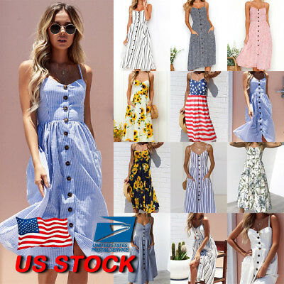 US Womens Vintage BOHO Floral Spotted Strappy Summer Ladies Midi Dress Sun Dress