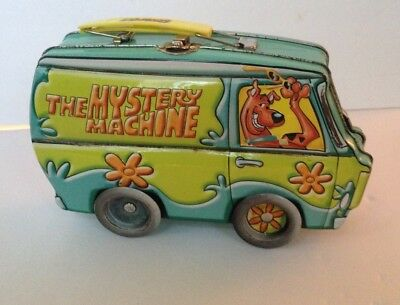 Scooby Doo Hanna Barbera The Mystery Machine Metal Tin Lunch Box MOVABLE WHEELS