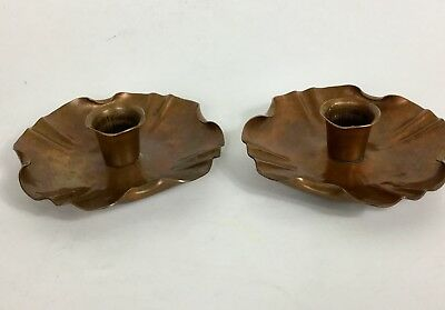 Vtg Craftmans Co Hand Made Pair Copper Candleholders Arts And Crafts Style