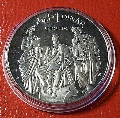 """1969-TUNISIA-DINAR-SILVER-PROOF """" Virgil Seated with Standing Men """" Low Mintage"""