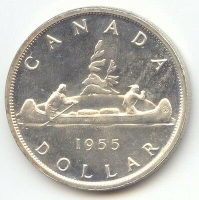 Canada, 1955 Silver Dollar, BU, Proof-Like, True Auction, No Reserve