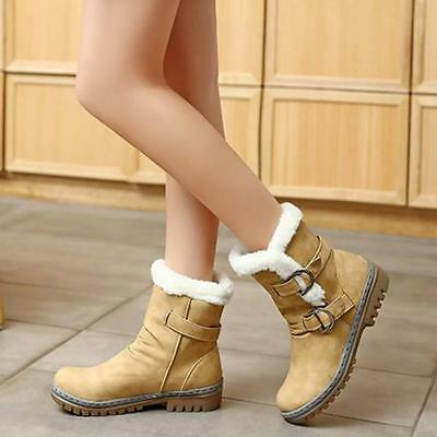 BS Women's Winter Warm Snow Boots Thicken Fur Scrub Suede Chic Boots Shoes