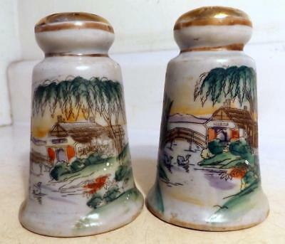 Antique Vtg Hand Painted Pottery Salt & Pepper Japan Marked 'Made in Nippon'