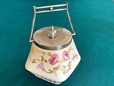 Antique Porcelain & Silverplate Biscuit Barrel Taylor Tunnicliffe Co. 1875-1898