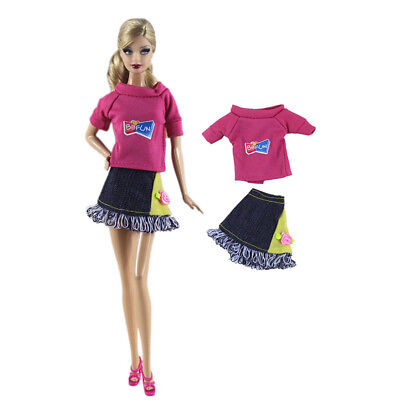 2Pcs/Set Handmade Doll Shirt + Dress For Barbie 1/6 Doll Party Daily Clothes JR