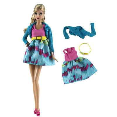 2Pcs Handmade Elegant Doll Coat + Dress For Barbie Doll Party Daily Clothes JR