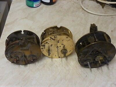 3 Antique French Striking Movements - Spares Or Repair (C)