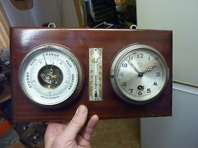 Very Nice Old Wall Clock - Barometer - Thermometer All Working Fine