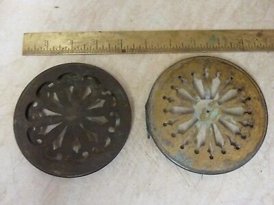 2 Antique French Clock Pierced Brass Back Doors (1)