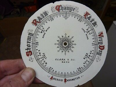 """Good Old Aneroid Barometer 5"""" Glazed Pottery Dial (Cl)"""