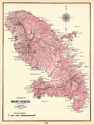 1905 Antique MARTINIQUE Map Caribbean Island Map Vintage 1900s Map 5407