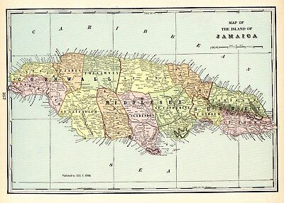 1905 Antique JAMAICA Map Caribbean Island Map Vintage 1900s Crams Map 5408