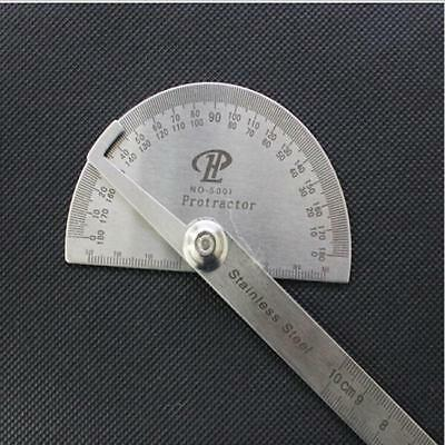 Stainless Steel 180° Protractor Round Head Rotary Angle Rule Finder Arm Ruler C