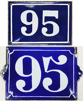 Large old blue French house number 95 door gate plate steel enamel sign - choice