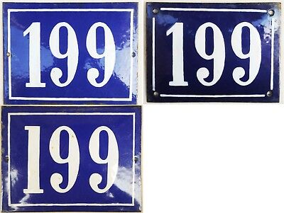 Antique large French house number 199 door gate plate steel enamel sign 1940s