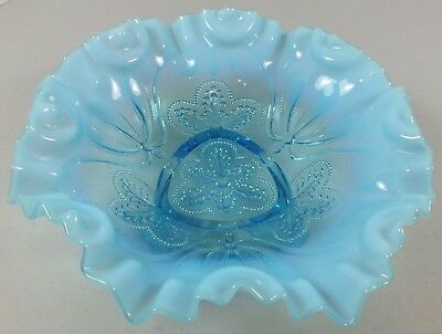 Antique Jefferson Glass/ Northwood Blue Opalescent Meander 3 Footed Beaded Dish