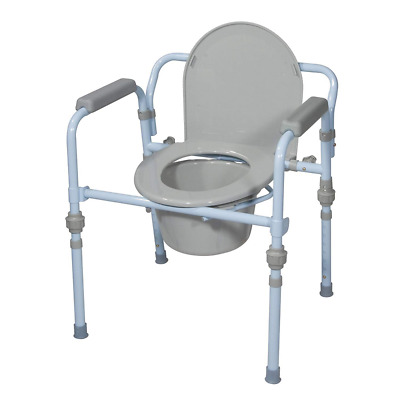 Drive Medical Folding Bedside Commode Seat with Bucket and Splash Guard