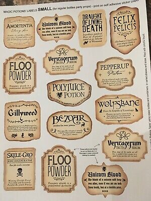 12 X Harry Inspired Potion Bottle  Stickers  Or 2 Extra Large.