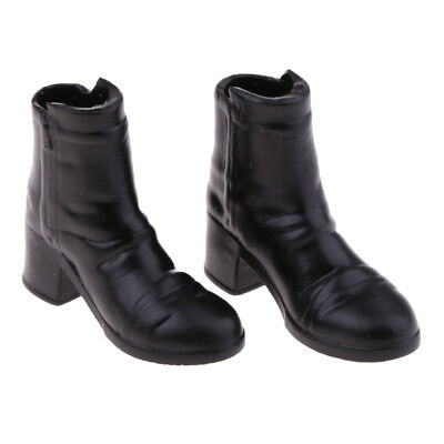 1/6 Scale Female Black Mid-heeled Ankle Shoes for 12'' Action Figure Doll