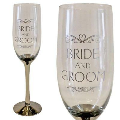 'Wedding Day' Champagne flute with silver stem - Bride and Groom