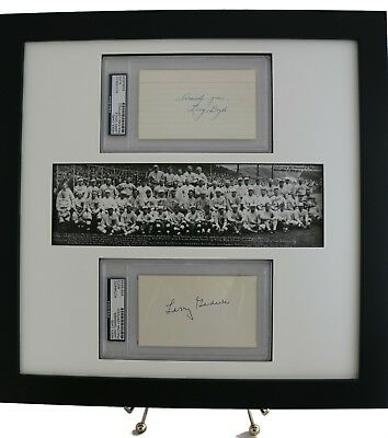 Larry Doyle & Larry Gardner Slabbed 3x5 Autographs w/ Panoramic Print Display