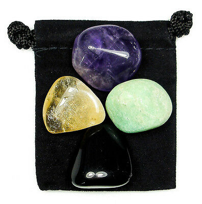 NEGATIVE ENERGY BLOCK Tumbled Crystal Healing Set = 4 Stones + Pouch + Card