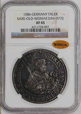 1586 Germany Taler Saxe-Old-Weimer-Dac-9772 #934664-2 XF45 NGC ~ WINGS