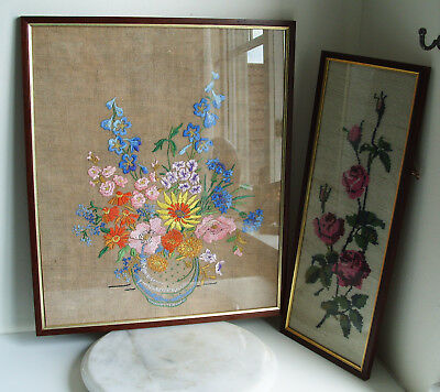 2 Hand Sewn Embroidery Silk Floral Flower Pictures Glass Front