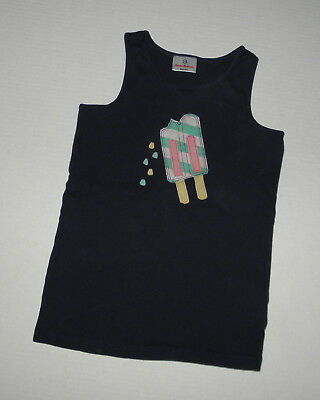 Hanna Andersson Navy Blue Ribbed Ice Cream Tank Top Girls 150 Summer Cotton