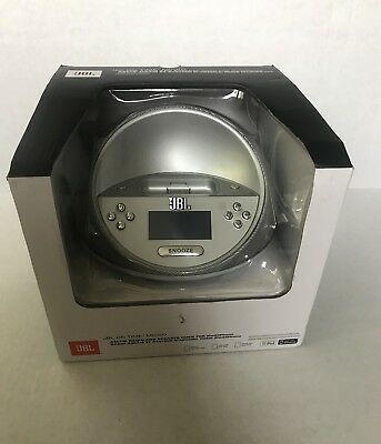 JBL ON TIME MICRO AM/FM Radio Portable Speaker Dock With Alarm Silver NEW