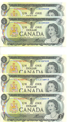Bank of Canada 1973 $1 One Dollar Lot of 5 Notes ECL Prefix Crow-Bouey UNC