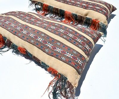 No Reserve! Pair Of Superb Antique Yomud Chuval Pillows Tekke Turkmen Ersari Rug