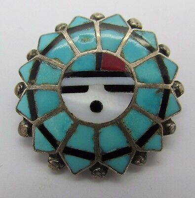 Vintage Signed T. ZUNI Inlaid Stones Sterling Silver SUN FACE pin Turquoise Onyx