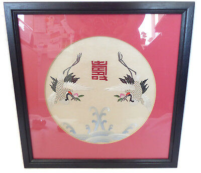 Japanese Textile Embroidered Picture of Two Cranes on Silk Framed