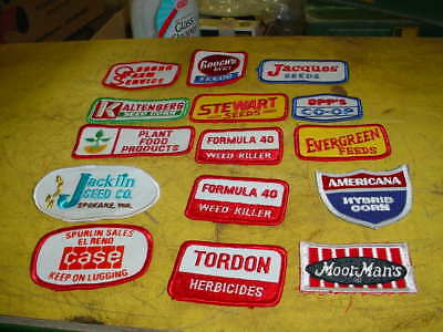 15 VINTAGE FARM RELATED  Patches -,SEED FEED-case.GOOCH'S FEED