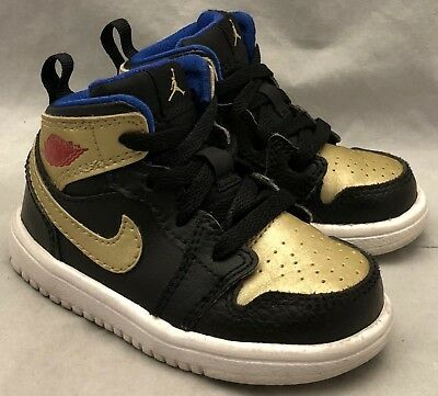 AIR JORDAN 1 Retro Mid Flex Black Gold Red Blue Sneakers Toddler Baby 5 C shoes