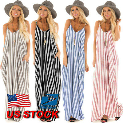 Women's Strappy Vertical Beach Striped Loose Holiday Ladies Long Maxi Dress US