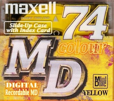 Maxell Yellow Md 74 Recordable Blank Minidisc - Sealed
