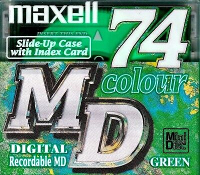 Maxell Green Md 74 Recordable Blank Minidisc - Sealed