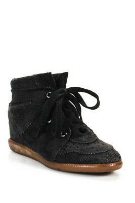 61d4fdc597 Isabel Marant Dark Gray Suede Lace Up Perforated Wedge Sneakers Size 41 11