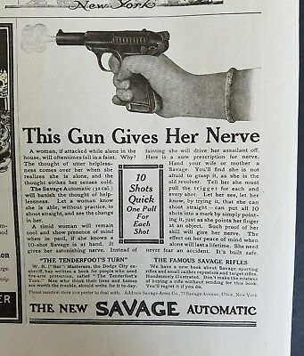 1910 Savage automatic pistol this gun gives her nerve vintage firearm ad