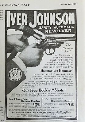 1909 Iver Johnson safety automatic revolver gun the business end firearm ad