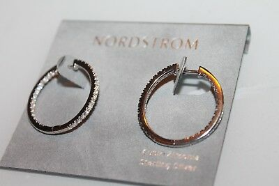 89df5f77b Nordstrom Earrings silver tone Cubic Zirconia 25mm Hoops Hinged women's