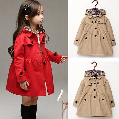 US Child Girl Kids Jacket Trench Coat Hooded Windbreaker Outerwear Parka Clothes
