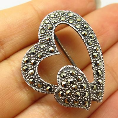 Vintage & Antique Jewelry Vintage Marsala 925 Sterling Silver Real Marcasite Gem Heart Design Pin Brooch Jewelry & Watches