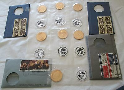 1976 American Revolution Bicentennial Medals  First day Covers 7 Medals