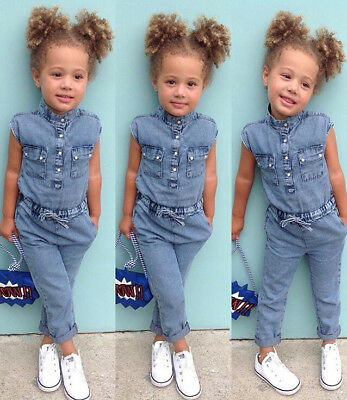 US Stock Toddler Kids Baby Girl Denim Romper Jumpsuits Playsuit Outfits Clothes